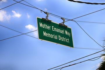 Mother Emanuel Way Memorial District overhead sign in Charleston, SC