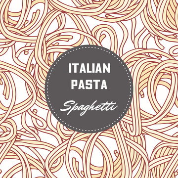 Hand drawn pattern with pasta spaghetti. Background for food package design
