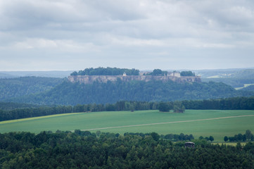 Bastei to river Elbe and Rathen, Saxon Switzerland, Germany - Die Bastei im Elbsandsteingebirge - Sächsische Schweiz