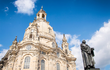 Frauenkirche and Martin Luther, the ancient city of Dresden, Germany
