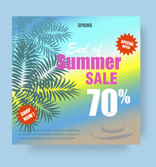 Summer sale poster template with palm and hat on sea background vector illustration