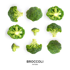 Creative layout made of broccoli. Flat lay. Food concept. Vegetables isolated on white background.