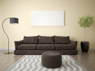 Mock up a stylish living room with a brown sofa and a light background.