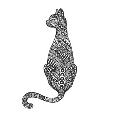 Isolated hand drawn black outline monochrome abstract ornate back of cat on white background. Ornament of curve lines.