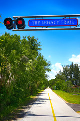 The Legacy Trail sign at the Venice Train Depot, FL