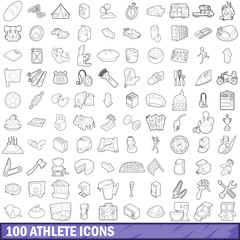 100 athlete icons set, outline style