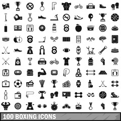 100 boxing icons set, simple style