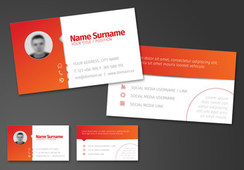 Red and Orange Gradient Business Card Layout 1