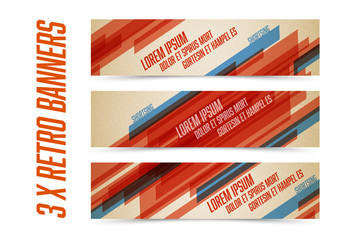 3 Multi-Stripe Web Banners with Retro Colors