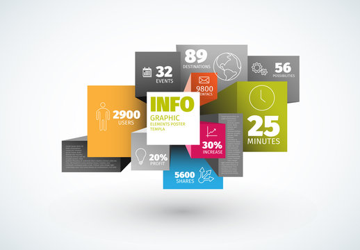 Overlapping 3D Cube Infographic Layout 1