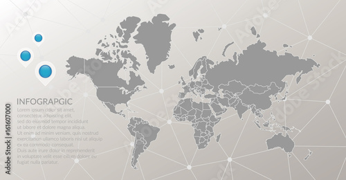 Vector world map infographic symbol  Map pointer icons, abstract