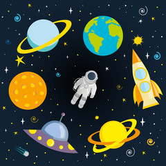 Astronaut, planets and space ships in space