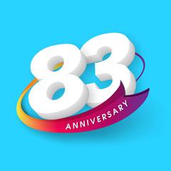 Anniversary emblems 83 anniversary template design