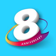 Anniversary emblems 8 anniversary template design