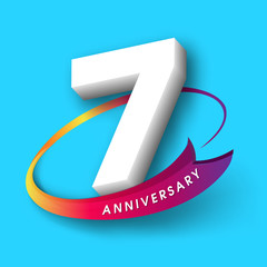 Anniversary emblems 7 anniversary template design