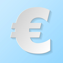 Euro symbol isolated on blue background. Vector.