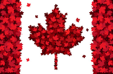 Happy Canada Day handdrawn lettering. Maple leaves texture. Vector illustration EPS10.