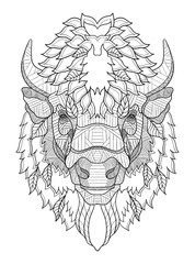 American buffalo head zentangle stylized, vector, illustration, hand drawn, pattern. Zen art. Ornate vector. Black and white illustration on white background.