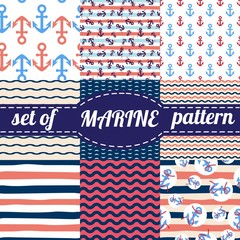 Vector illustration. Set of sea and nautical backgrounds in navy blue and white colors. Seamless patterns collection.