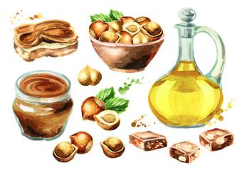 Hazelnut products set. Watercolor hand-drawn illustration