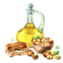 Hazelnut products. Paste, oil and nuts. Hand-drawn watercolor illustration