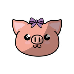 kawaii piggy animal icon over white background colorful design vector illustration