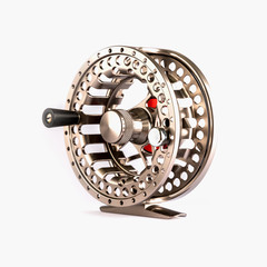 Fly Reel on white background