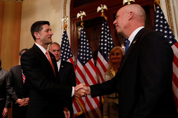 Speaker of the House Paul Ryan greets Rep. Greg Gianforte (R-MT) prior to a ceremonial swearing-in ceremony at the U.S. Capitol Building in Washington