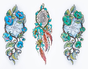 Set of sketches of multicolored dreamcatchers in flowers on a white background.