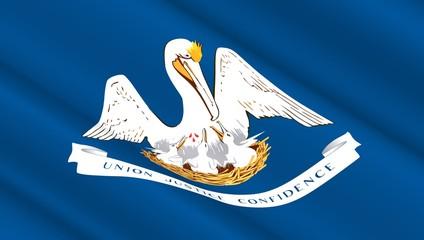 Waving flag of Louisiana state. 3D illustration.