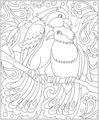 Black and white page for coloring. Fantasy drawing of couple of birds. Worksheet for children and adults. Vector image.