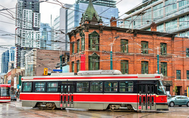 Acrylic Prints Toronto City tram in Toronto, Queen St West - Spadina Ave