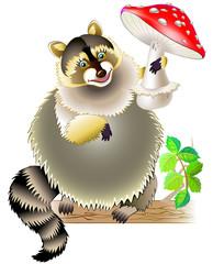Illustration of raccoon holding mushroom. Vector cartoon image.