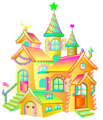 Illustration of toy fairy house on a white background. Vector cartoon image.