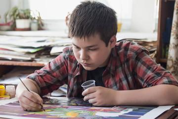 Work on drawing teenagers in the studio