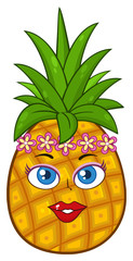 Pineapple Fruit Cartoon Mascot Character Woman Face With Hawaiian Flower Lei Garland Wreath. Illustration Isolated On White Background