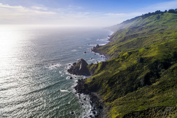 An aerial view of the rugged Sonoma Coast on beautiful spring day near Jenner, California. Wall mural