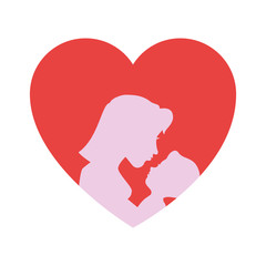 heart with mother and baby icon over white background colorful design vector illustration