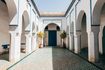 bahia palace courtyard at marrakech, morocco