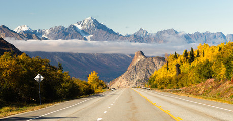 Road Leads Down Fall Season Open Road Alaska