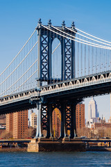 Manhattan bridge from Washington street, Brooklyn, New York, USA