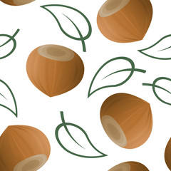Hazelnuts with leaves seamless patterns