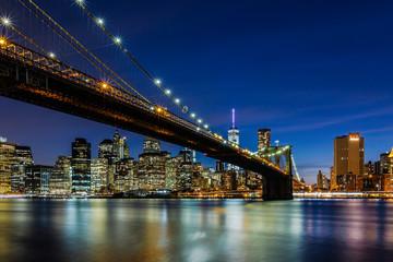 Dusk at Brooklyn Bridge and Lower Manhattan Skyline, New York United States