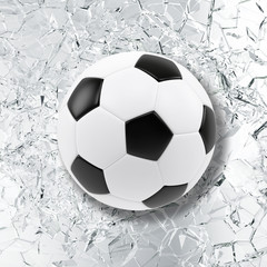 Sport illustration with soccer ball coming in cracked glass wall. Cracked glass wall. 3d rendering