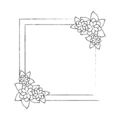 decorative frame with beautiful flowers icon over white background vector illustration