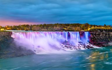The American Falls and the Bridal Veil Falls at Niagara Falls as seen from Canada