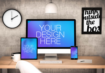 3 Devices on Wooden Table with Motivational Poster Mockup 1