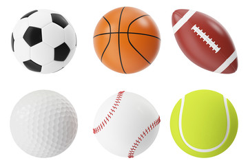 Sports balls 3d illustration set. Basketball, soccer, tennis, football, baseball and golf