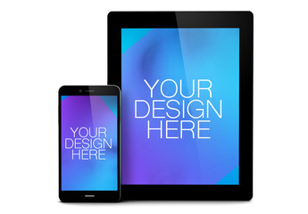 Smartphone and Tablet Isolated on White Mockup 1
