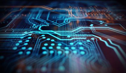 Orange,  blue technology background/Orange, blue technology background/Orange and blue technology background circuit board and code
